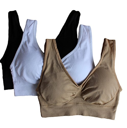 472d6bcd4a Cabales Women s 3-Pack Seamless Wireless Sports Bra with - Import It All
