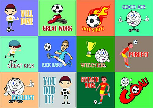Creanoso Soccer Sport Series Motivational Stickers - 10 Sheets - Inspirational Words of Encouragement Wall Decal Sticky Art for Boys, Girls, Teens, Kids, Children, Teens - Surface Sticker Set -