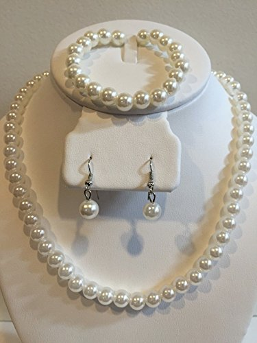 Honora Earrings Pearl (Blazers Jewelry 1985 - Set of Wedding Bridesmaid Eternity Love - Romantic Acrylic White Pearl Necklace Bracelet Wedding Party Costume in Blazers Street Style)
