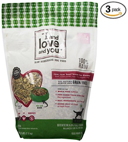I and Love and You In The Raw Beef Recipe Dog Food, 5.5 Pound – 3 per case. For Sale