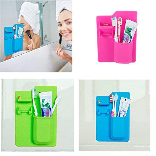 Homipooty Silicone Toothbrush Holder Bathroom Organizer Storage Mighty Toothpaste Razor,Blue