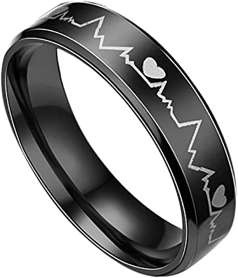 Hombres mujeres brillan en la oscuridad de la frecuencia cardíaca Acero Inoxidable Par de anillo de dedo bastante