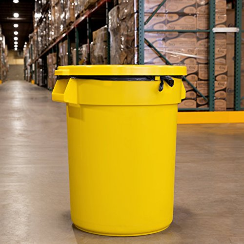TableTop King Huskee 32 Gallon Yellow Trash Can with Yellow Lid