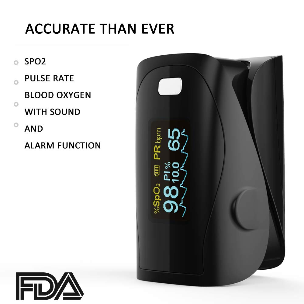 Pulse Oximeter - Fitfaith Pro Series M110E Six Display Modes Fingertip Pulse Oximeter Blood Oxygen Saturation Monitor with Lanyard (Mystic Black)
