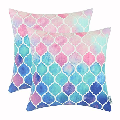 CaliTime Pack of 2 Cozy Throw Pillow Cases Covers for Couch Bed Sofa, Manual Hand Painted Colorful Geometric Trellis Chain Print, 18 X 18 Inches, Main Pink Aqua Blue (Manual Main)