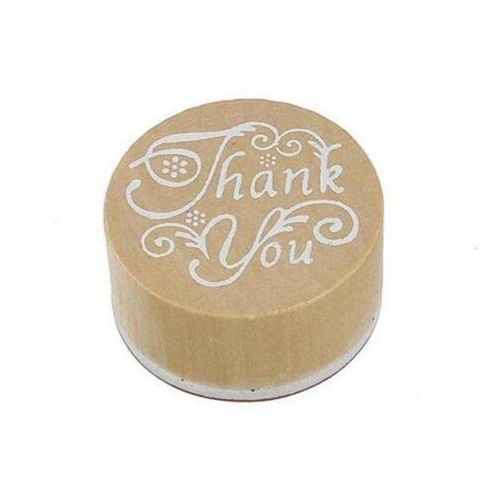 VivReale 1pcs Craft Carta de Regalo de Madera Sello de Goma Letra Cursiva Gracias Estampado de Flores Estampado por TheBigThumb