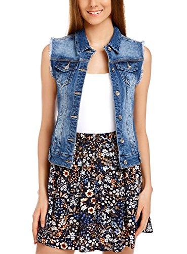 oodji Ultra Damen Jeansweste mit Ziertaschen, Blau, XS / EU 36 (DE 34)