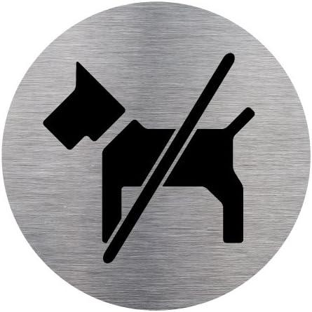 Plaque de Porte T/él/éphone Interdit en Aluminium Bross/é Inoxydable Diam/ètre 83 mm Double Face Adh/ésif au Dos