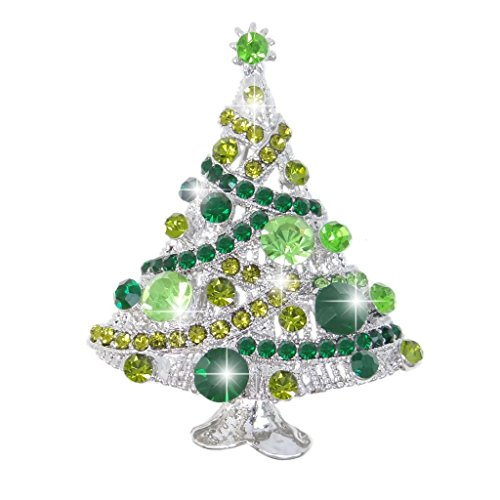 EVER FAITH Streamer Star Christmas Tree Brooch Pin Green AB Austrian Crystal (Tone Crystal Christmas Tree)