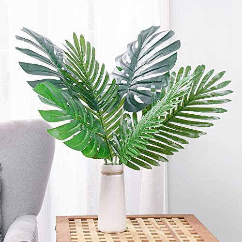 - Olivachel Artificial Leaves Tropical Monstera Leaves Palm Tree Leaf Plant DIY Decorations for Home Kitchen Wedding Party (3pcs Palm Leaves + 3pcs Monstera Leaves)