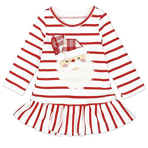 Toddler Kids Baby Girls Santa Claus Print Dress Long Sleeve Striped Skirt One-Piece Clothes Set (Red, 9-12 -