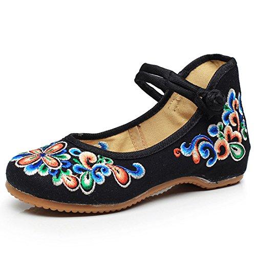 Ligeros de Ocasionales de Mary Zapatos Temporada Ejercicios Jane Pisos Bordados Flores matinales Zapatos Negro Mujer de Zapatos Lona Bailarines gqOYxWzwS