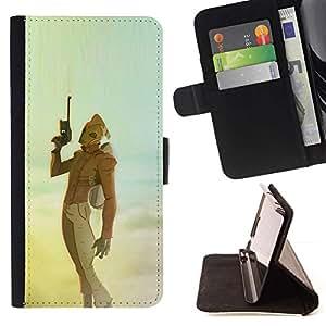 Momo Phone Case / Flip Funda de Cuero Case Cover - Sci Fi Película Azul Amarillo trullo Cielo Pistola - Apple Iphone 4 / 4S