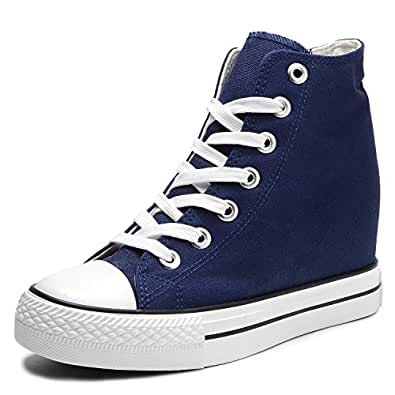 Catata Women Casual Canvas Lace Up High Top Hidden Heel Wedge Shoes Platform Sneakers Blue Size: 5