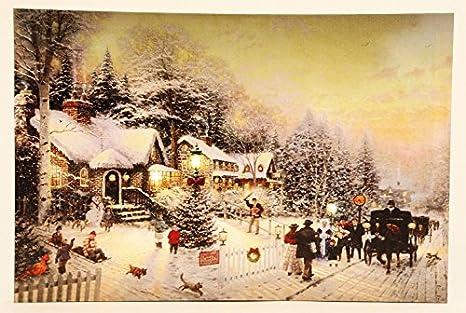 LED Haus Winterlandschaft 24 cm x 16 cm batteriebetrieben Licht Weihnachten