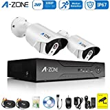 A-ZONE 4 Channel HD-TVI Video Security System, 2x 1080P Indoor Outdoor CCTV Cameras ,Motion Detection & Email Alert, HD Surveillance DVR Recorder Support AHD/TVI/CVI/CVBS- With 1TB Hard Drive