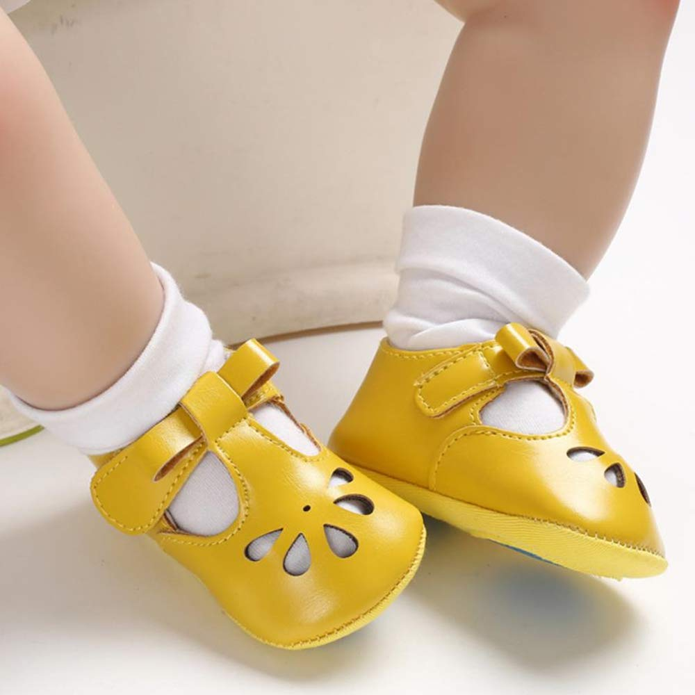 RVROVIC Baby Girls Mary Jane Pu Bow Princess Toddler Prewalker Christening Baptism Infant Crib Shoes