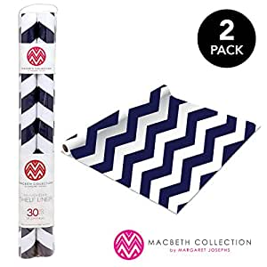 Self Adhesive Shelf Liner - 2 Pack - Rugby Chevron Navy