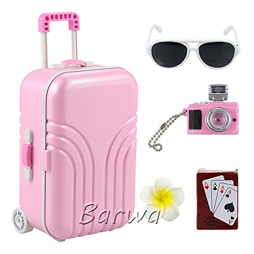 Barwa Travel Set Suitcase Pink Suitcase and Camera with Sunglasses Flower Hair Clip and Play Card for 18 inch American Girl Doll (Suitcase Doll)