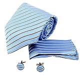 H5197 Blue Stripes Excellent Presents Silk Tie Hanky Cufflinks Fine Present Box Set 3PT By Y&G