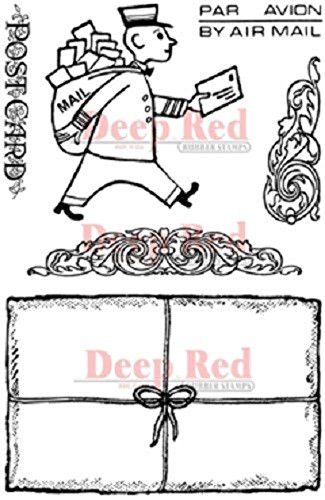 Deep Red Stamps Mailman Postcard Rubber Stamp Set Acrylic Unmounted Stamp Set
