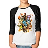 P-Jack Women's Eevee Evolution Customized 100% Cotton 3/4 Sleeve Raglan Tee Shirt Black XXL