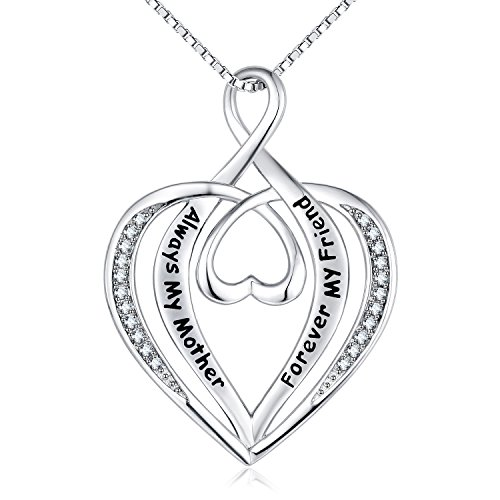 NUMMY Always My Mother Forever My Friend Engraved Pendant Necklace for Women (18' Adjustable) -...