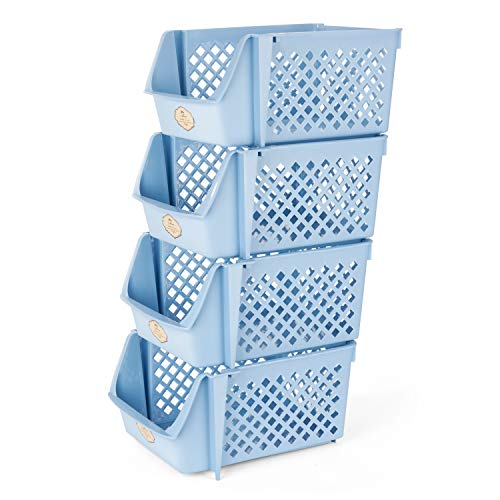 (Titan Mall Stackable Storage Bins for Food, Snacks, Bottles, Toys, Toiletries, Plastic Storage Baskets Set of 4, 15x10x7 Inch/bin, All Blue Color, Shelf Baskets for Saving Space)