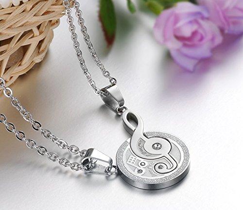 Saengthong Fashion Jewelry Music Symbol Pendant Titanium Steel Musical Notation Couple Necklace (A) - Music Notation Symbols