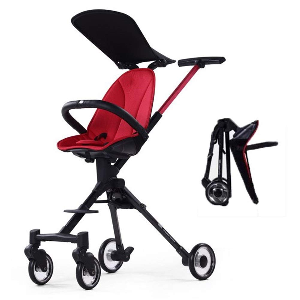 DSAEFG High Landscape Foldable Two-Way Baby Stroller Small Size Lightweight Aluminum Alloy Adjustable Neonatal Carriage