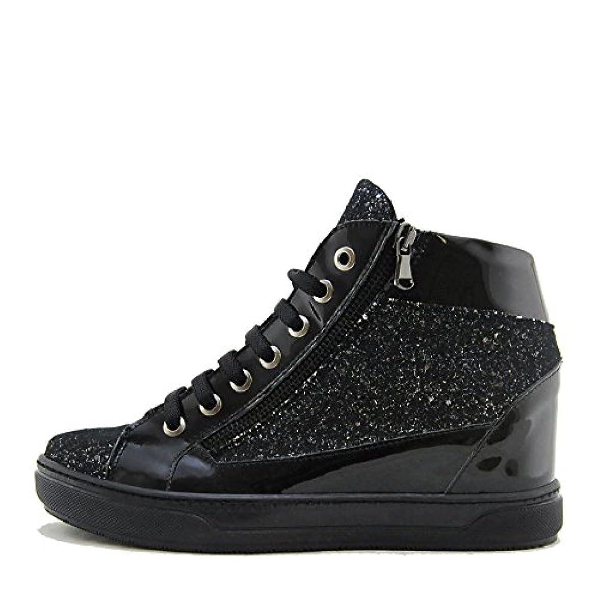 Lea Gu Calzature Sneakers Con Zeppa Nera Glitter E Vernice Fondo Gomma Para