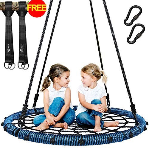 Trekassy 660lb Spider Web Swing 40 inch for Tree Kids with Steel Frame and 2 Hanging Straps