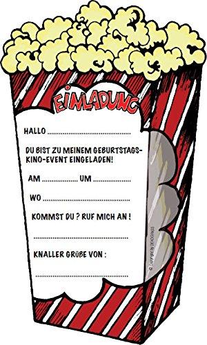 6 Einladungskarten * POPCORN KINO * Für Kindergeburtstag Und Party Von  DEKOSPASS // Kinder Geburtstag Party Kinderparty Kinogeburtstag Einladung  Einladungen ...