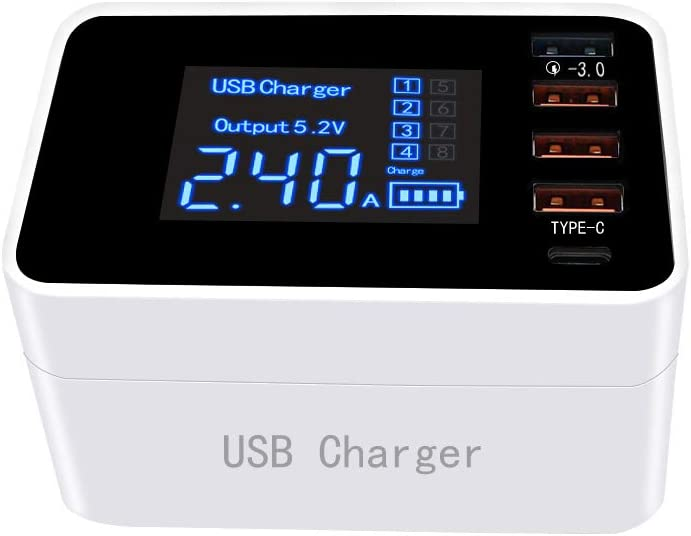 USB Charger Multiple Device Recharging LCD Display Fast Wireless Charger 3.0 USB Ports for iOS iPad,iPhone x//xs//7//8//8P//xr Samsung Galaxy S9 More and Android Devices and Tablets