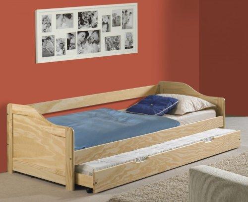 funktionsbett lisa funktionsliege jugendbett mit bettkasten kiefer natur 90 x 200 cm b x l 2. Black Bedroom Furniture Sets. Home Design Ideas