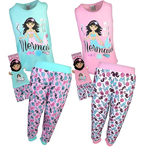 BFF & ME Girls 4 Piece Jogger Pajama Set with Matching Doll Pajamas, Mermaid, Size 4/5'