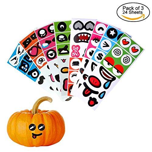 24PCS , 3 PACK PVC Pumpkin Sticker Pumpkin Decorations Craft Kit for DIY Halloween Party and (Crafts Halloween Decorations)