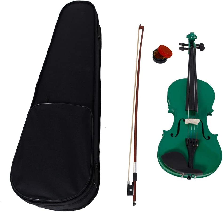 CHOCITY 4//4 Green Acoustic Violin with Case//Bow//Rosin for Fiddle Beginner