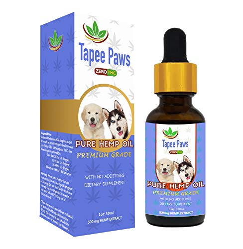 Tapee Paws Hemp Oil for Dogs and Cats 500mg - Pain Relief, Calming, Fights Cancer, Remedies - Arthritis, Stress, Seizures, Muscle Spasms, Epilepsy, Separation Anxiety, Itching & Skin Allergies