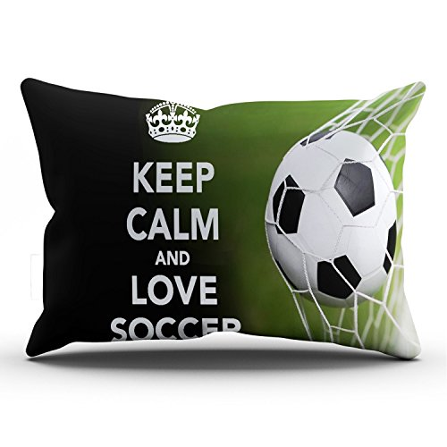 Hoooottle Custom Plain Unique Keep Calm and Love Soccer King Pillowcase Rectangle Zippered One Side Printed 20x36 Inches Throw Pillow Case Cushion Cover by Hoooottle