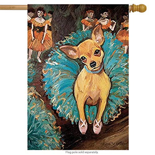 Toland Home Garden Dogas Chihuahua 28 x 40 Inch Decorative Puppy Dog Portrait Ballerina Dancer House Flag