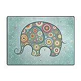 PLAO Area Rug Roma Elephant Rugs, Decor Carpet Floor Mats Lightweight Rugs for Living Room Bedroom 5'3×4'
