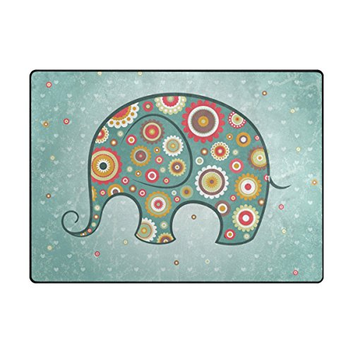 PLAO Area Rug Roma Elephant Rugs, Decor Carpet Floor Mats Lightweight Rugs for Living Room Bedroom 5'3×4′ Review
