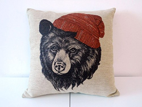 Decorbox Cotton Linen Square Throw Pillow Case Decorative Cushion Cover Pillowcase for Sofa Animal Black Bear Wear Hat 18