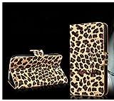 Leopard Skin Wallet Flip PU Leather Pouch Stand Case Cover For BLU Samsung Galaxy LG ZTE Motorola huawei Mobile Cell Phone (MOTOROLA DROID RAZR XT912 XT910 RAZR MAXX XT913, Leopard)
