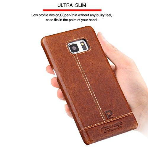Funda Para Galaxy Note 7,Pierre Cardin De lujo delgado del cuero genuino duro de la cubierta del caso para Galaxy Note 7 (Galaxy Note 7, Negro) Marrón