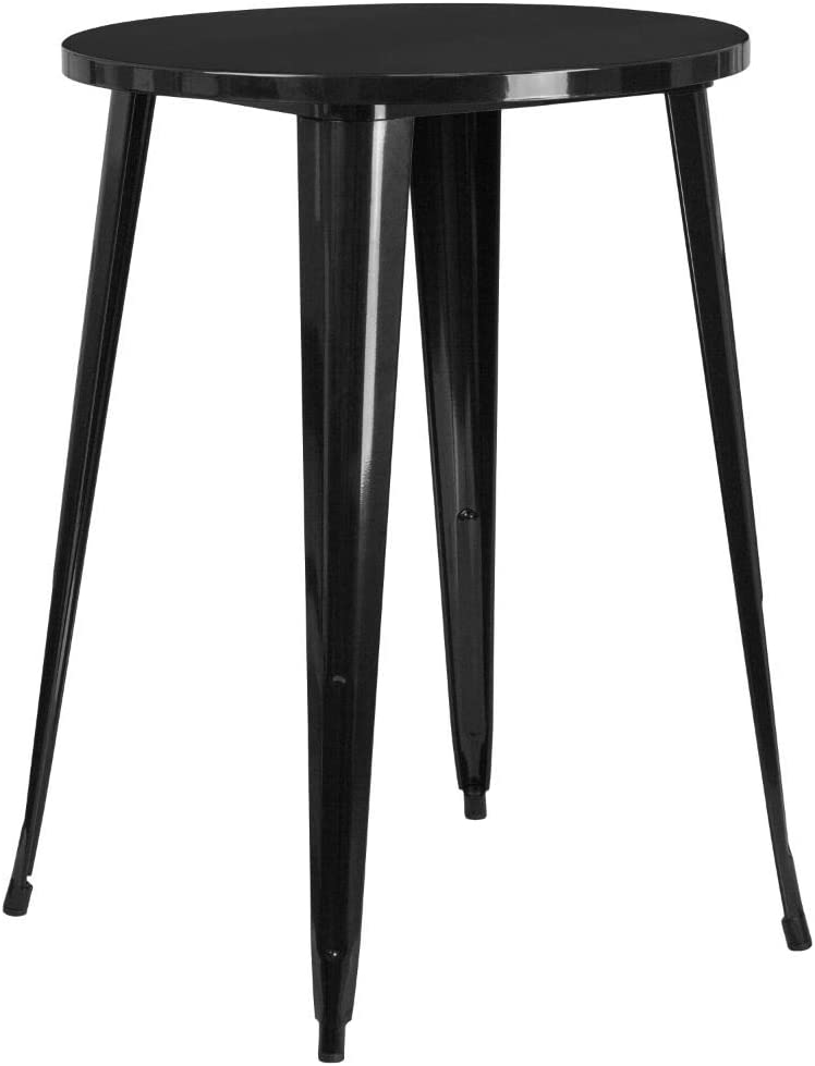 """Flash Furniture Commercial Grade 30"""" Round Black Metal Indoor-Outdoor Bar Height Table"""