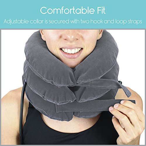 Cervical Neck Traction Pillow by Vive - Inflatable Home Pillow Stretcher Device Unit for Chiropractic Back Pain Relief, Spine Support & Posture - Adjustable Air Pump System for Travel & Stiff Neck by VIVE (Image #6)