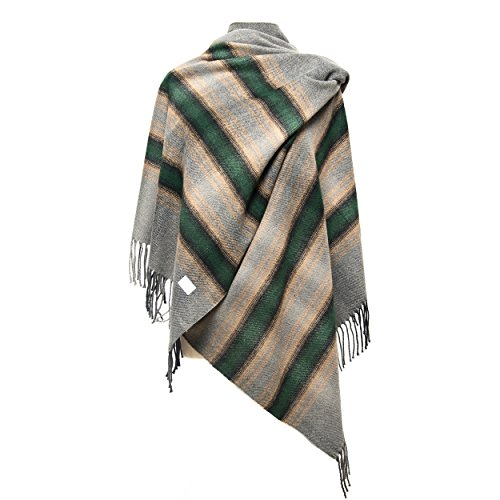 Beaded Knit Shawl (Women Oversized Stylish Warm Blanket Scarf Fall Winter Tartan Plaid Shawl (Green))