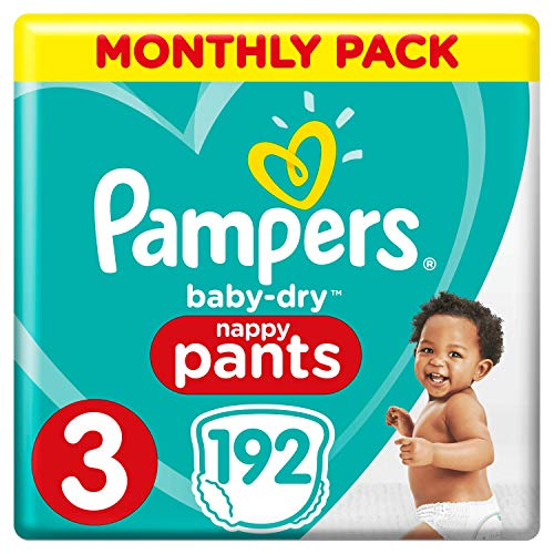 Pampers Baby-Dry Nappy Pants Size 3, 192 Nappy Pants, Monthly Saving Pack, Easy-On with Air Channels for Up to 12 Hours of Breathable Dryness, 6-11 kg